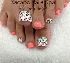 Summer cheetah toe nails, coral toe nails, green toe nails, cute to Coral Toe Nails, Green Toe Nails, Pretty Toe Nails, Summer Toe Nails, Cute Toe Nails, Fancy Nails, Toe Nail Art, Love Nails, Toenails