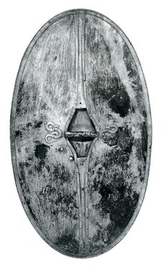 Like the Romans, and most ancient warriors, the Celts used shields in battle. These were usually oval, as the photo on the right shows (this is the back of a shield), but they could be rectangular, circular, or hexagonal.