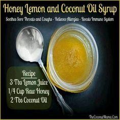 Honey Lemon & Coconut Oil Syrup. Healthy