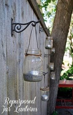 Glass jars can't be recycled in a lot of places so instead of throwing them away, repurpose them into lanterns or vases.