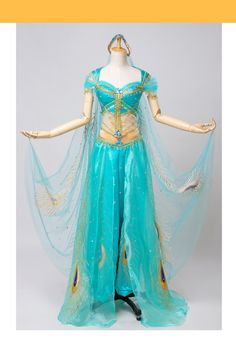 Princess Jasmine's costume set from 2019's Live Action movie.Lake Green Satin base fabric with custom, embroidered gold accents and detailing.Matching cape with embroidered Peacock feather detailing.Set IncludesHeadband, Bodice, Matching Pants, CapeFree Custom SizingAdd Corset Boning: $15Free Shipping Worldwide