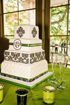Black, White & Green Damask Gluten-Free Wedding Cake by Renay Zamora @ Sweetface Cakes, Nashville, TN.