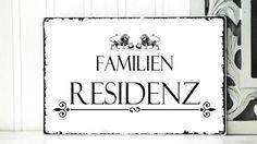 XL 26x17cm Shabby Vintage Schild FAMILIENRESIDENZ von homestyle-accessoires via dawanda.com
