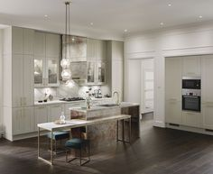 The Chelford Dove Grey kitchen has a distinctive wide frame and a smooth matt finish. Shaker Kitchen, New Kitchen, Kitchen Dining, Kitchen Ideas, Kitchen Colors, Kitchen Designs, Howdens Kitchens, Home Kitchens, Luxury Kitchens