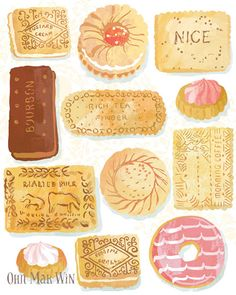 Favourite Biscuits by Ohn Mar Win Illustration: selection of British favourites including custard cream, bourbon, malted milk, nice, rich tea and shortcake. Illustration Noel, Watercolor Illustration, English Biscuits, Iced Gems, Cream Biscuits, Rich Tea Biscuits, Pinterest Instagram, Watercolor Food, Malted Milk
