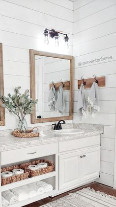 Used Kitchen Cabinets, White Bathroom Cabinets, Home Room Design, Bathroom Interior Design, House Design, Modern Farmhouse Bathroom, Farm House Bathroom, Chic Bathrooms, House Rooms