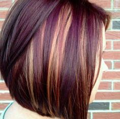 Brown with purple and blonde highlights