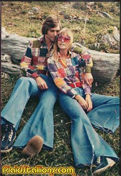 madras plaid and flairs #1970s #vintage/how cute the matching outfits! I laughed myself silly thiking of me and my 6'3, 270lb hubby dressed like this !!!!love the checkerblocked  plaid and the super wide bellbottoms!!! funny but really cute!! only in the 70's!!!