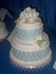 Baby Blue and Pearl Wedding Cake  ~ all edible
