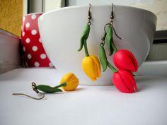 polymer clay tulips .earrings