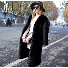solid long medium faux fox fur coat