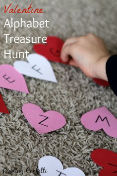 An alphabet treasure hunt with a Valentine's Day theme is a fun way to practice letters.