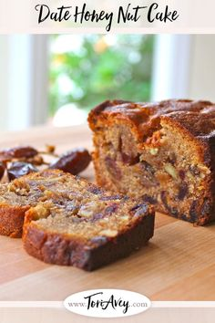 Date Honey Nut Cake - A moist, dairy-free cake bursting with flavor. Kosher, Pareve, Dairy Free, and perfect for Rosh Hashanah or Sukkot. Bon Dessert, Dessert Bread, Loaf Cake, Bread Cake, Date Nut Cake Recipe, Honey Cake Recipe Jewish, Date Nut Bread, Kolaci I Torte, Sweet Bread