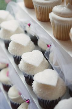 white cupcakes with heart shaped details - photo by Orange County wedding photographer Stephanie Williams