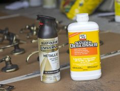 cheap/short-term fix for outdated fixtures (master bath):  rub w/ steel wool, wipe w/ sander/deglosser, apply 4-5 coats of metallic spray