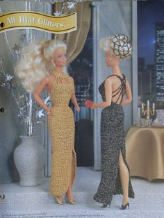 All That Glitters Evening Gown Crochet Pattern for 11 1/2 inch Fashion Dolls like Barbie
