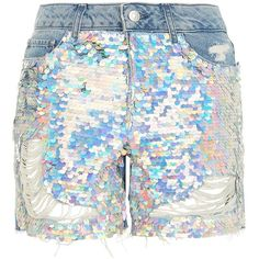 TopShop Moto Ashley Sequin Boyfriend Shorts ($70) ❤ liked on Polyvore featuring shorts, mid stone, boyfriend shorts, destroyed shorts, sparkly shorts, distressed cut off shorts and embellished shorts