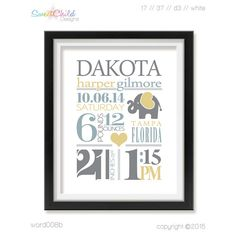Birth Stats Baby Nursery Art Prints Birth by SweetChildDesignsFL