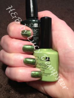 CND Shellac Pretty Poison layered with Limeade gives this divine green!