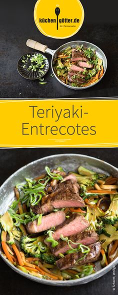 Edle Entrecotes auf asiatischem Gemüse, verfeinert mit Teriyakisauce und Sesamöl.