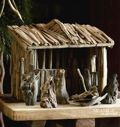 Driftwood Nativity Creche - Complete Set from Roost This is a rustic, but gorgeous nativity set made from real drift wood with 6 figures and the stable structure. Driftwood Christmas Tree, Christmas Nativity, Christmas Holiday, Xmas, Beach Christmas, Christmas Ideas, Driftwood Projects, Driftwood Art, Driftwood Ideas