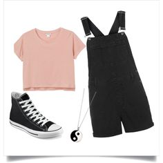 playsuit by elisakorriku on Polyvore featuring moda, Monki, Topshop, Converse and Accessorize