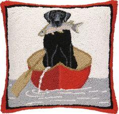 Black Lab & Canoe Hook Pillow: Beach House Decor, Coastal Decor, Nautical Decor, Coastal Living Boutique, Tropical Decor