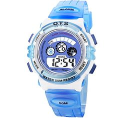 Blue Boys Waterproof Students Digital Watch for Kids ** Read more reviews of the product by visiting the link on the image. (Note:Amazon affiliate link)