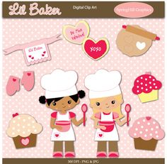 Instant Download Lil Baker Digital Clip Art for Card Making, Scrapbooking - Personal & Commercial Use