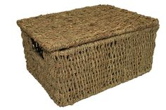 Rectangular seagrass hamper storage basket with inset handles and hinged lid. Made with a strong wire frame Measurements are 36 x 28 x Hamper Boxes, Hamper Basket, Basket Bag, Gift Basket, Hampers, Storage Baskets With Lids, Plastic Baskets, Wicker Hamper, Rattan Basket