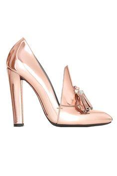 Rose gold loafer