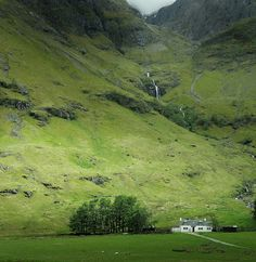 This is in the village of Glencoe, Scotland; near Glen Coe,a glen (valley) in the Lochaber area of the Highlands