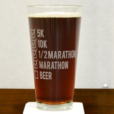 Our Runners Checklist Pint Glass is the perfect glass to raise to your favorite runner. This 20 oz pint glass engraved with one of our exclusive and popular running designs makes a perfect gift for a runner and a great addition to a home bar.