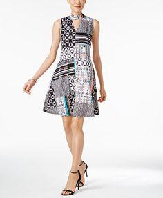 NY Collection Mock-Neck A-Line Dress | macys.com