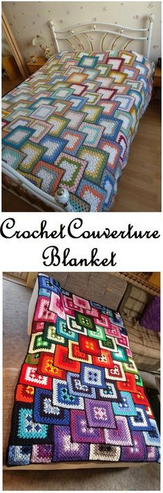 Crochet couverture blanket - free pattern  I would definitely change the colors but this is a very different pattern)