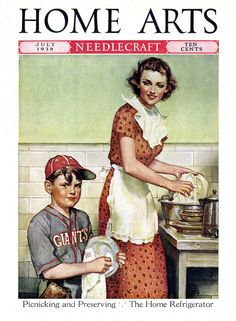 when children dried the dishes... and moms wore aprons over dresses to keep house