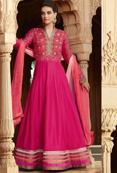 Pink designer anarkali suit with dupatta