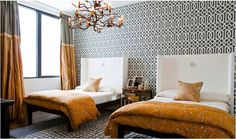 lucinda loya gray and orange bedroom