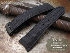 20mm, 21mm, 22mm MiLTAT Black Washed Canvas Roller Deployant Watch Band, Black Stitching, PVD