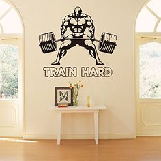 FangeplusTM Weightlifting Man Fitness Train Hard DIY Removable Art Mural Vinyl Waterproof Wall Stickers Kids Room Decor Powerhouse Gym Decal Sticker Wallpaper 275x224 * More info could be found at the image url.