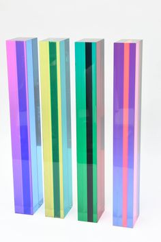 Set of Four Signed Vintage Vasa Column Lucite Tower Sculptures | From a unique collection of antique and modern sculptures at https://www.1stdibs.com/furniture/decorative-objects/sculptures/