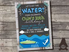 Water Ski Wakeboarding Invitation, Water Skis Party, Wakeboard Invitation, Water Slalom, Custom Printable Invitation for Birthday Party…