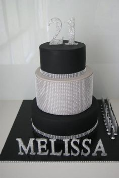A Black and Silver Themed 21st Birthday by Cakes Mary Makes