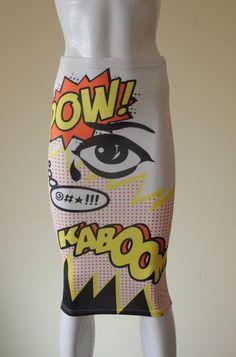 Topshop Vintage Comic Book Pop Art Pencil Skirt Soft Fabric 80s Roy Lichtenstein
