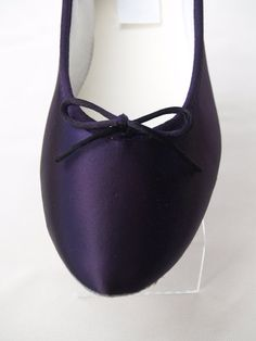 Wedding Dark Eggplant Shoes Satin Ballet Style flat Slipper
