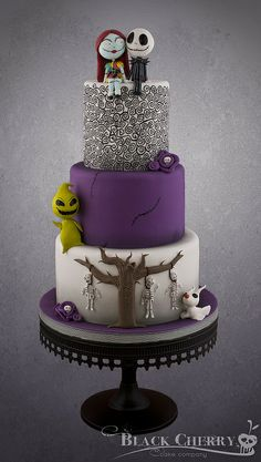 2014 Cute Halloween Nightmare before Christmas Wedding Cakes - Skellington Topper, Stitches, Skeleton Tree, Floral Pretty Cakes, Cute Cakes, Beautiful Cakes, Amazing Cakes, Christmas Wedding Cakes, Round Wedding Cakes, Bolo Halloween, Halloween Cakes, Super Torte