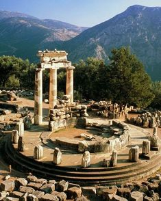 10 of the World's Greatest Ruins Ancient Oracle of Delphi, Greece. Simply unbelievable with breathtaking views of olive trees…the ancient Greeks claimed that Delphi was the navel of the earth; we sure felt it! Places Around The World, Oh The Places You'll Go, Places To Travel, Places To Visit, Around The Worlds, Ancient Ruins, Ancient Greece, Ancient History, Oracle Of Delphi