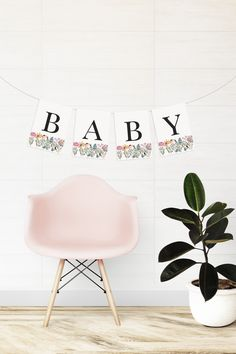 Wildflower Letter + Number Banner | Wildflower Baby Shower or Birthday Bunting | Edit Saying or Phrase, Name or Age | Easy to Edit, Print + Ship Invitations, Wildflower Baby Shower, Garden Shower, Birthday Bunting, White Envelopes, Wild Flowers, Accent Chairs, Numbers