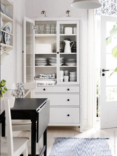 """HEMNES Glass-door cabinet with 3 drawers, white stain, 35 3/8x77 1/2 """" $399.00"""