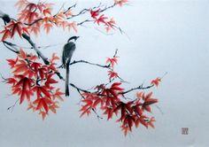 Pie sur la branche d'érable peinture encre japonaise par Suibokuga
